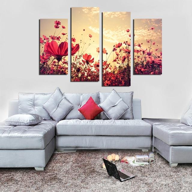 4 Pz Foresta Stagioni Fiore rosso Alberi Canvas Print Pittura per ...