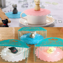 Cat silicone glass cup coffee suction sealing cover