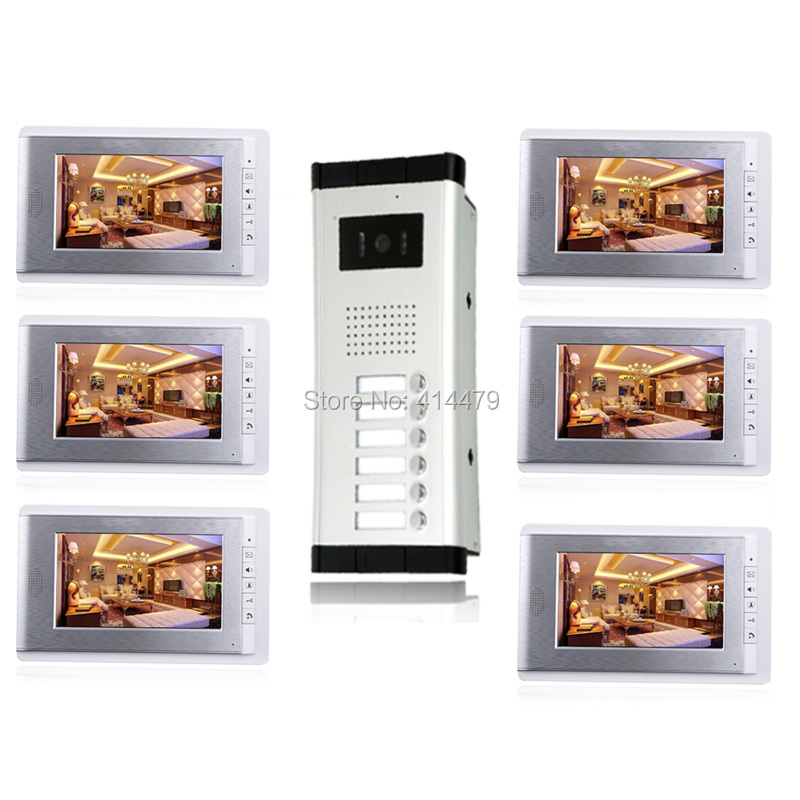 Apartment 7 inch Home Video Door phone Intercom Entry System 6 Indoor LCD Monitors 1 oudoor Night Vision Camera my apartment