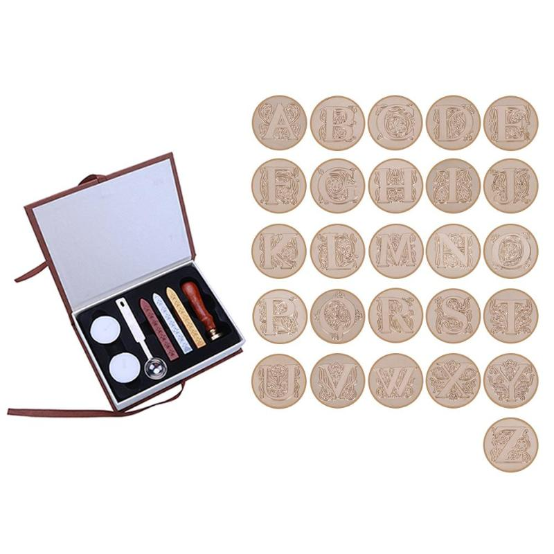 Retro 26 English Alphabets Metal Hot Sealing Wax Clear Stamps Set Dia 25mm Stamps Wax Seals Exquisite Stamps with Box bradex hot stamps