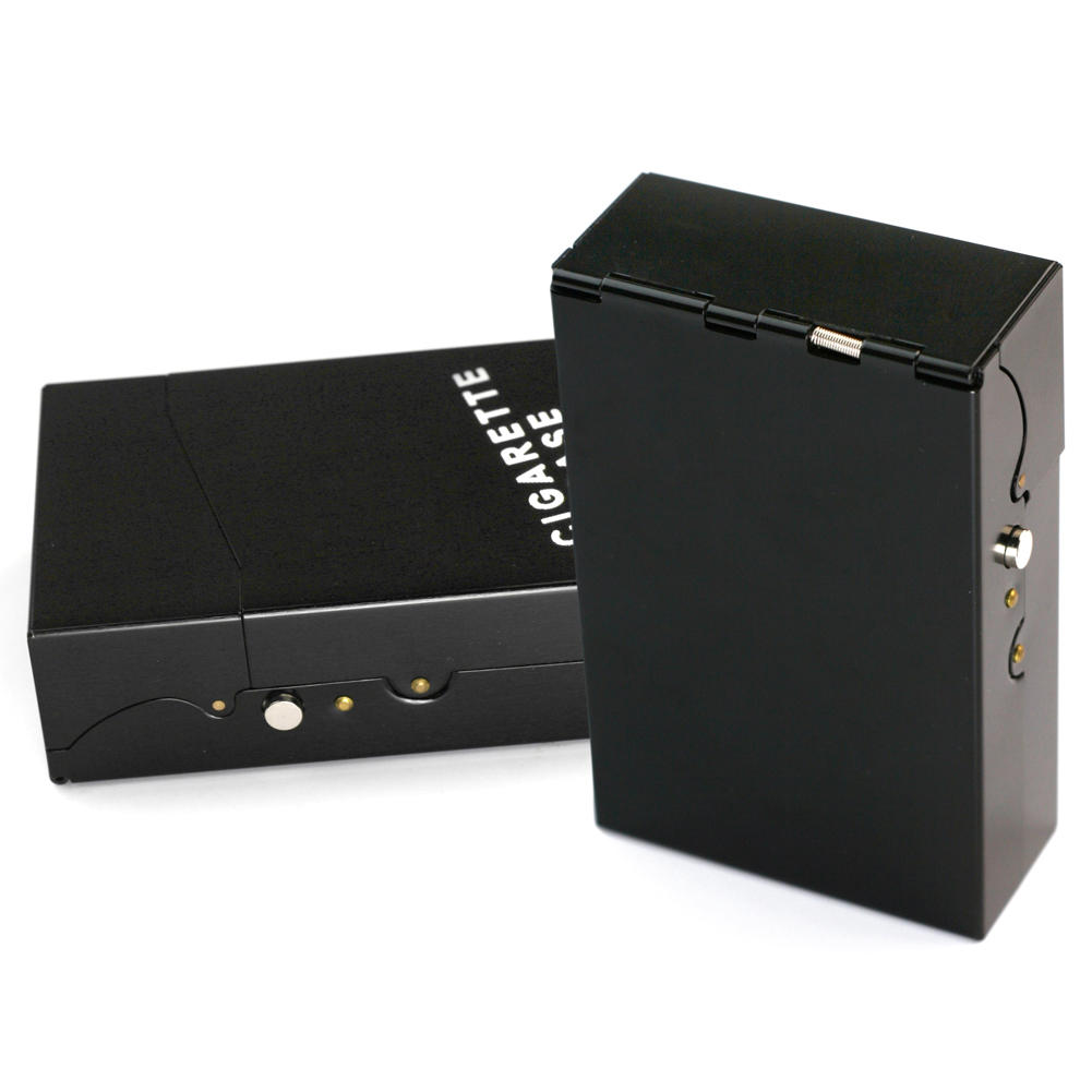 NEW Metal Alloy Cigarette Box Leather Cigar Cigarettes Case Holder Portable Tobacco Pack Storage Box Smoking Accessories Gadgets