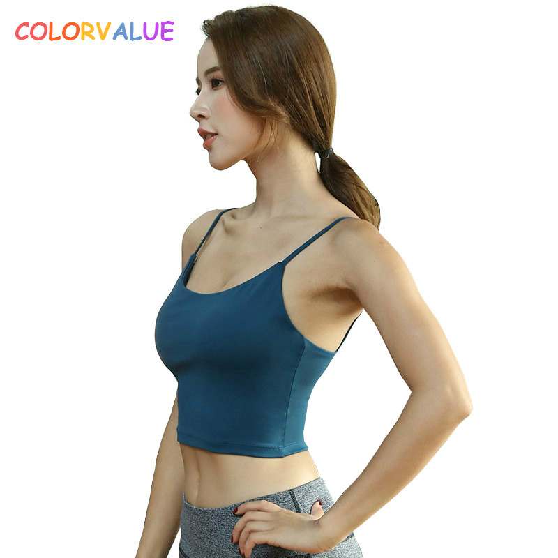 Colorvalue Spaghetti Strap Fitness Gym Crop Top Women Push Up Padded Sport Bra Quick Dry Vest-Type Exercise Athletic Brassiere white spaghetti lace up design vest