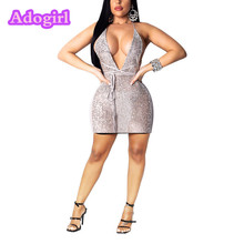 Adogirl Sheer Mesh Sequined Sexy Mini Dress Deep V Neck Sleeveless Backless Halter Bodycon Party Dresses Women Club Wear Outfits adogirl diamonds sheer mesh bodycon club dress mock neck long sleeve sheath mini performance party dresses women fashion outfits