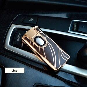 Image 5 - Новинка 2017 года USB электрическая двойная дуговая металлическая зажигалка перезаряжаемая плазменная Зажигалка сигарета Сенсорное зондирование импульсный крест гром Ligthers