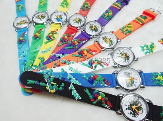 10pcs/lot NEW 3D Cartoon TMNT silicone Children kids and boys Watch Students Wristwatch Relogio clock feminino