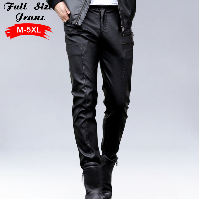 Winter Warm Men Plus Size PU Leather Pants 4XL 5XL Chi  Male Oversized Straight Faux Leather Casual Pants