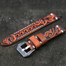 Onthelevel Vintage Watch Strap 20mm 22mm Carved Embossed Band Handmade Watchband With Buckle Engraved Clasp #D