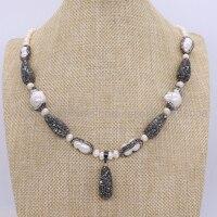 Handcrafed Natural pearl druzy necklace multi shape Pearl & Drop zircon bead Bohemia necklace black drop bead pendant 1686