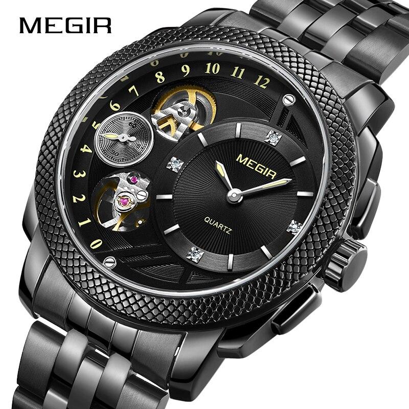 Montre d'affaires pour hommes MEGIR montres à Quartz de luxe en acier inoxydable montres militaires hommes horloge heure Relogio Masculino