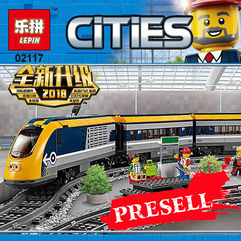Lepin 02117 City Series The LegoING 60197 Toys Passenger Train Set Model Building Blocks Bricks Kits Toys for Kids DIY Gifts