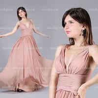 V neck dusty rosa prom dresses chiffon convenzionale lungo abiti da damigella d'onore