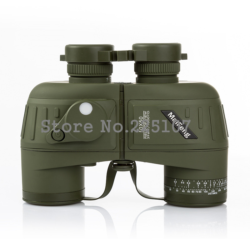 10X50 Binoculars Telescope Hd wide-angle Portable LLL Night Vision Waterproof  Scope Compass Not Infrared  Measure The Distance fs 20x50 high quality hd wide angle central zoom portable binoculars telescope night vision telescopio binoculo freeshipping