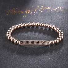 CZ zircon rhinestone copper bead gold elastic line bracelet micro-inlaid For Men Women Jewelry