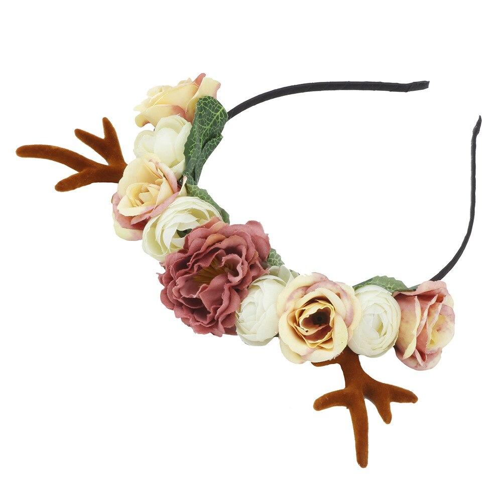 Kawaii Flowery Christmas Deer Headband 1