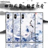절묘한 중국어 블루 화이트 도자기 전화