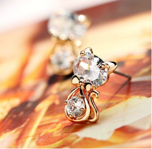 Lovely Cute Animal Cat Earrings Cubic Zircon Stud Earrings For Womens Fashion Jewellery Valentines Birthday Party Jewelry
