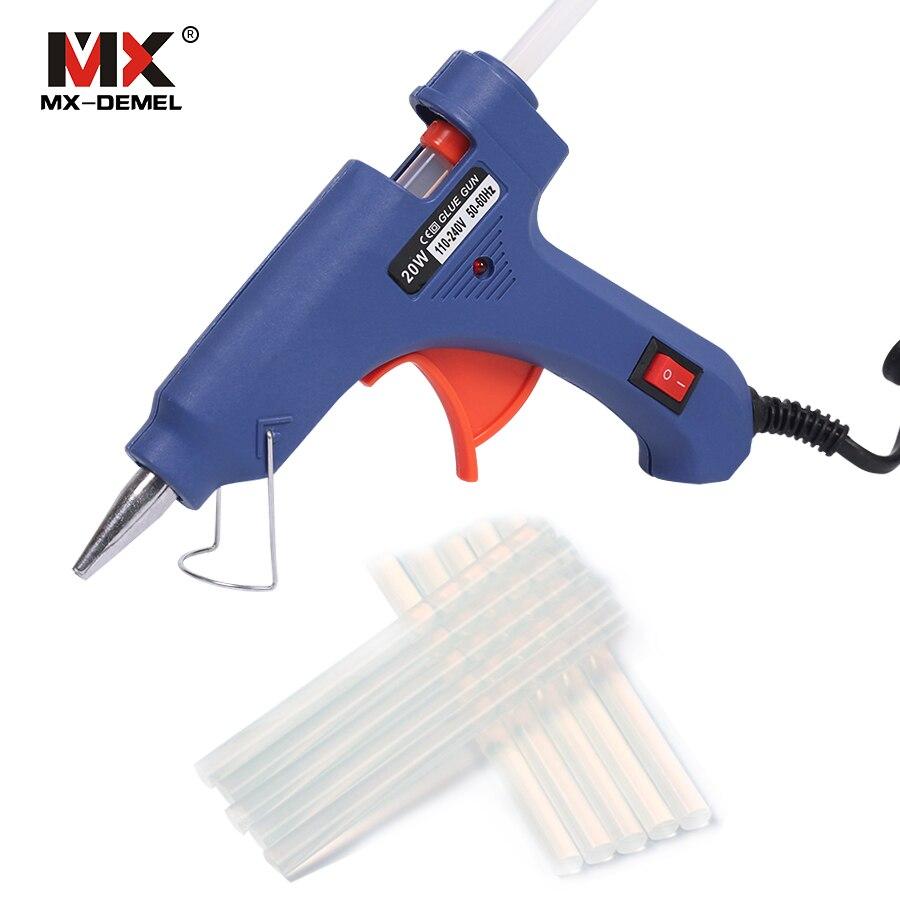 HILDA 20 W EU Plug Hot Melt Glue Gun com 10 pcs Bastões de cola De Silicone Elétrica Armas Thermo Gluegun Reparação de Calor Temperatura ferramentas