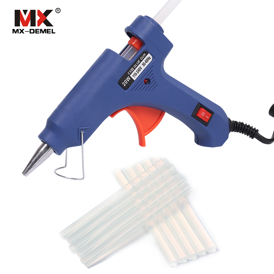 HILDA 20W EU Plug Hot Melt Glue Gun with 10pcs Glue Sticks Electric Silicone Guns Thermo Gluegun Repair Heat Temperature Tools home professional high temp heater 20w hot melt glue gun repair heat tools eu plug with 1pc glue stick kf