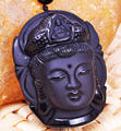 beautiful Chinese Handwork Natural Black Obsidian Carved Kwan-yin Buddhism Lucky Amulet Pendant Beads necklace Fine Jade Jewelry