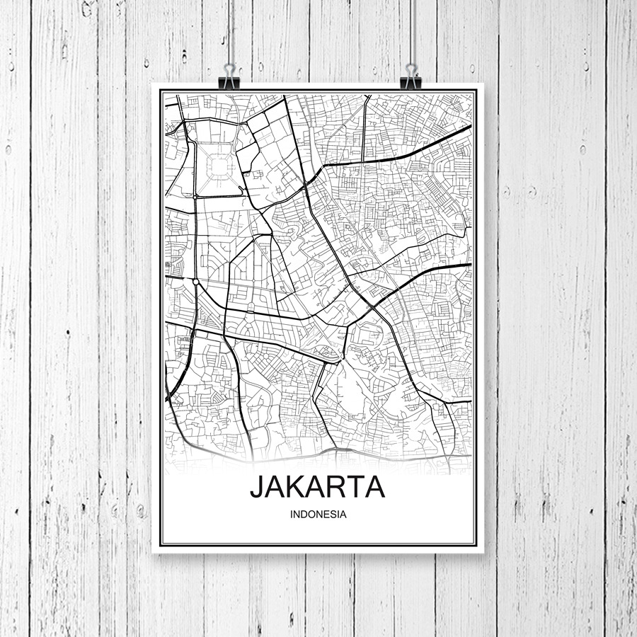 World City Map JAKARTA Indonesia Print Poster Abstract Coated Paper Bar Cafe Living Room Home Decoration