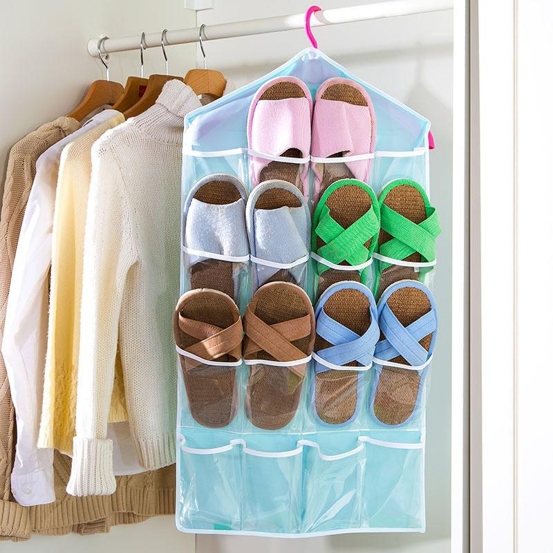 Folding 16 Grid Storage Box Socks Toy Underwear Sorting Storage Bag Door Wall Hanging Closet Organizer Multifunction