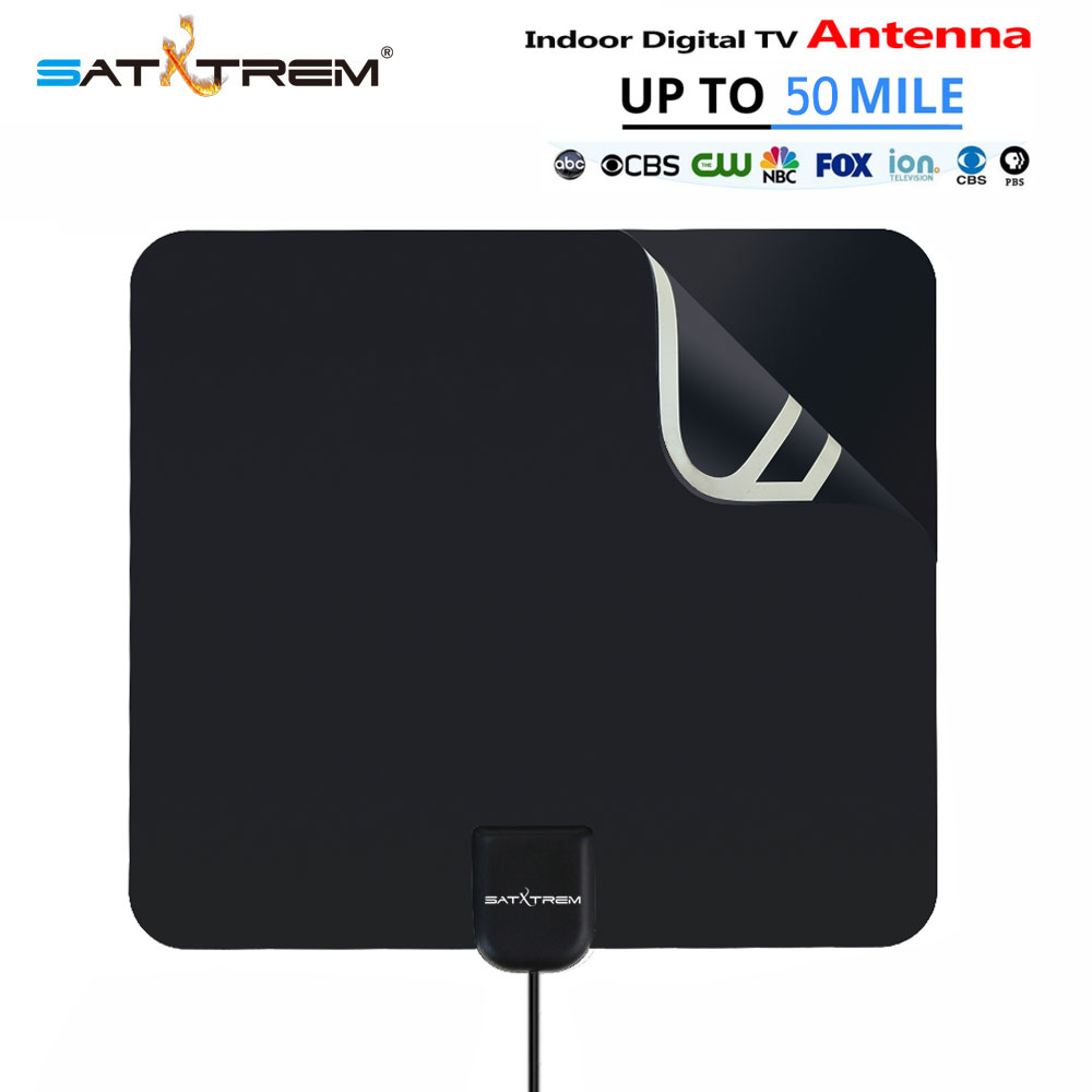 New Amplified Indoor HDTV Antenna 50 Miles Range Digital TV Antenna Signal Amplifier Booster 10ft Long Range Cable Antennatv simple fashion hdtv amplified indoor digital tv aerial with high gain hdtv 50 miles reception range home use