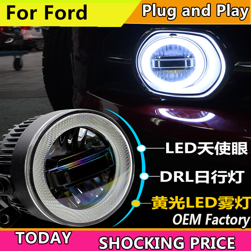 Car Styling for Ford focus Fiesta fusion mondeo EcoSport LED Fog Light Auto Angel Eye Fog Lamp LED DRL 3 function model car styling fog lamp for toyota camry corolla highlander mark led fog light angel eye fog lamp led drl 3 function model