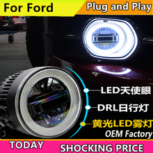 цена на doxa Car Styling for Ford focus Fiesta fusion mondeo EcoSport LED Fog Light Auto Angel Eye Fog Lamp LED DRL 3 function model