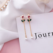MENGJIQIAO 2019 New Cute Flower Leaf Drop Earrings For Women Girls Fashion Crystal Tassel Pearl Temperament Brincos Jewelry Gift(China)