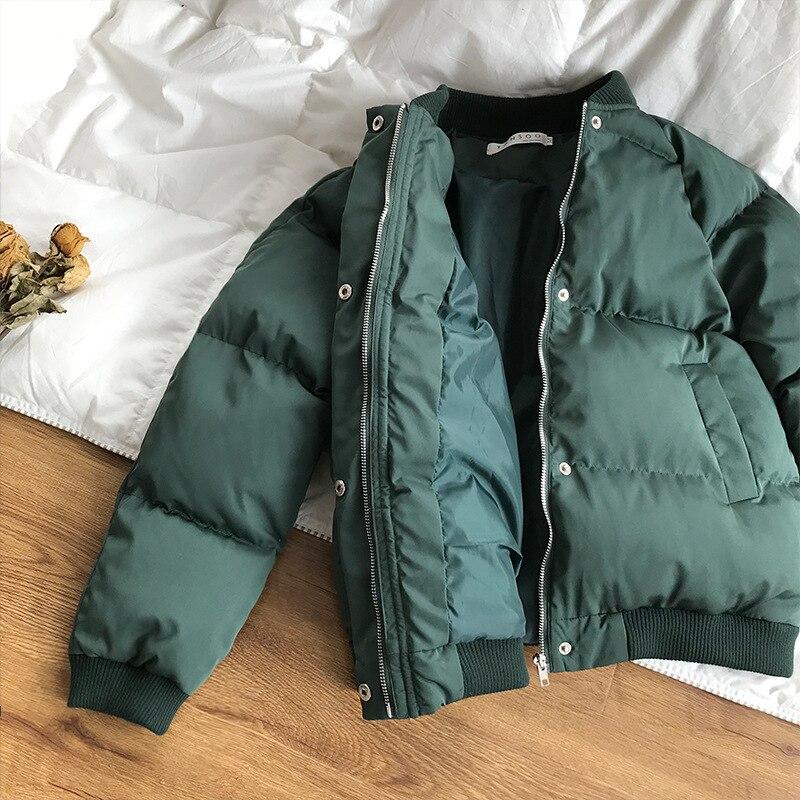 Street O Doublure Vers Femme High Hiver Coton Chaudes Manteaux Femmes vert Solide 2018 Vestes Noir Épais Glissière Vert Lâche Le Bas gris Cou Court De Parkas IAwBxPZ