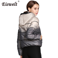 EISWELT Plus Size Winter Women Down Jacket Flock Hooded Zipper Print Snow Coat Hooded Duck Down