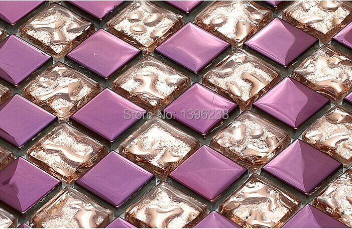 Purple pink puzzle parquet Glass mosaic balcony bathroom crystal wallpaper home kitchen backsplash electroplated art tile,LSDD03 women s watercolor prints high waist polyester leggings stretch tight pants yoga pants