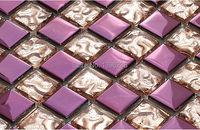Rosa roxo enigma parquet mosaico De Vidro do banheiro varanda de cristal casa papel de parede da cozinha backsplash electroplated arte telha, LSDD03