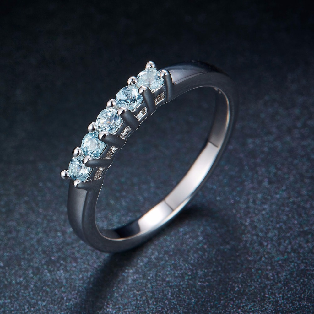 Hutang Bryllup Ringe Fem Sten Naturlig Aquamarine Solid 925 Sterling - Smykker - Foto 4