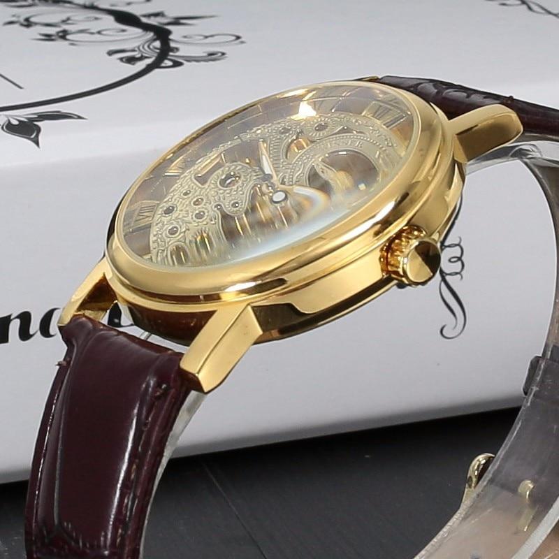 Top Brand Winner Luxury Fashion Casual Stainless Steel Men Mechanical Watch Skeleton Hand Wind Watch For Men Dress Wristwatch