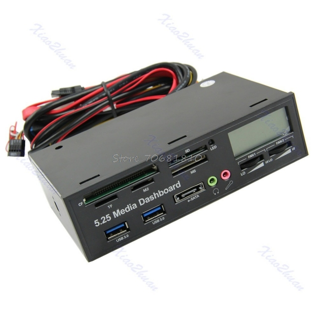 "USB 3.0 All-in-1 5.25"" Muiti-function Media Dashboard Front Panel Card Reader -R179 Drop Shipping"