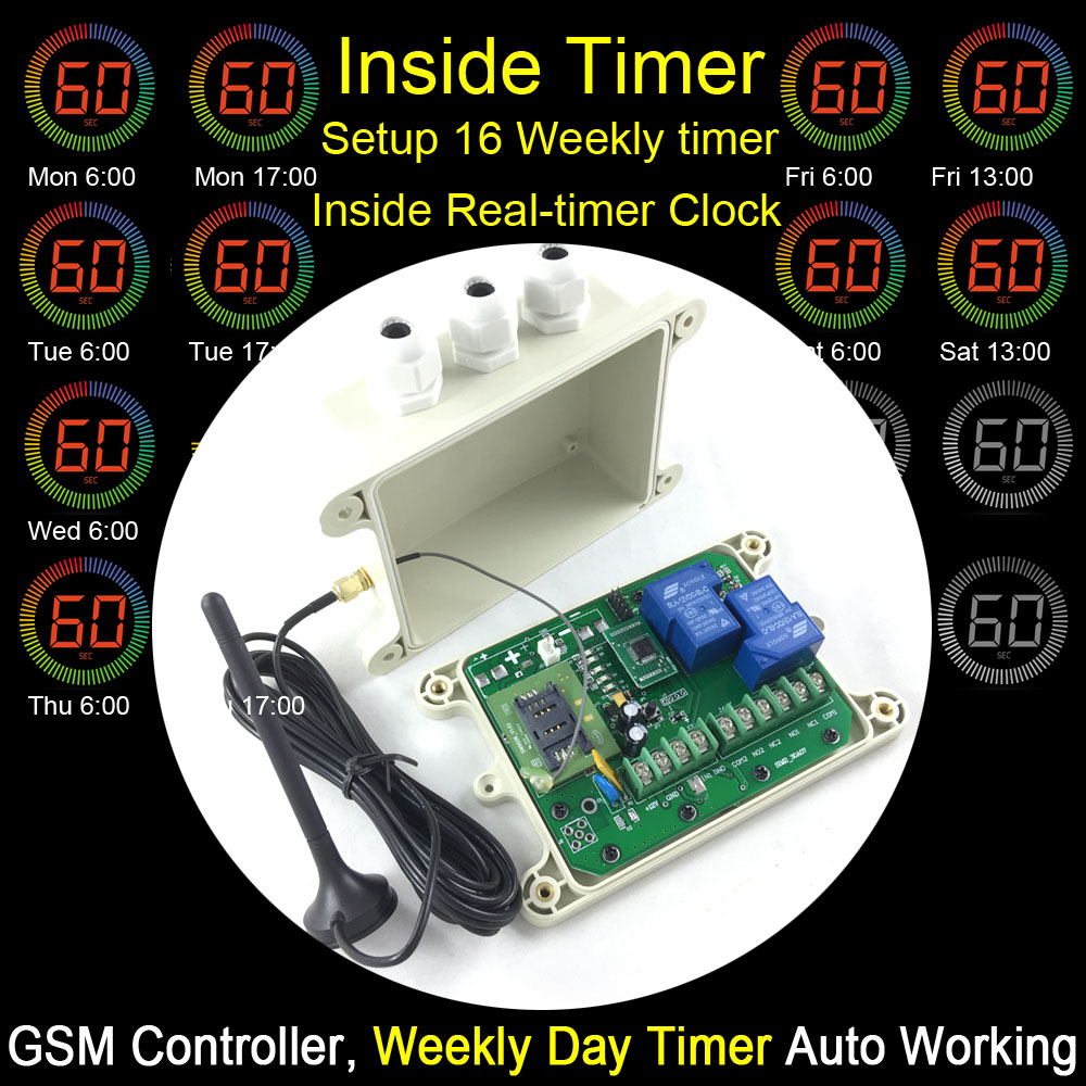 Free shipping GSM remote relay switch control box Preset 16 timer for WEEKLY day working One