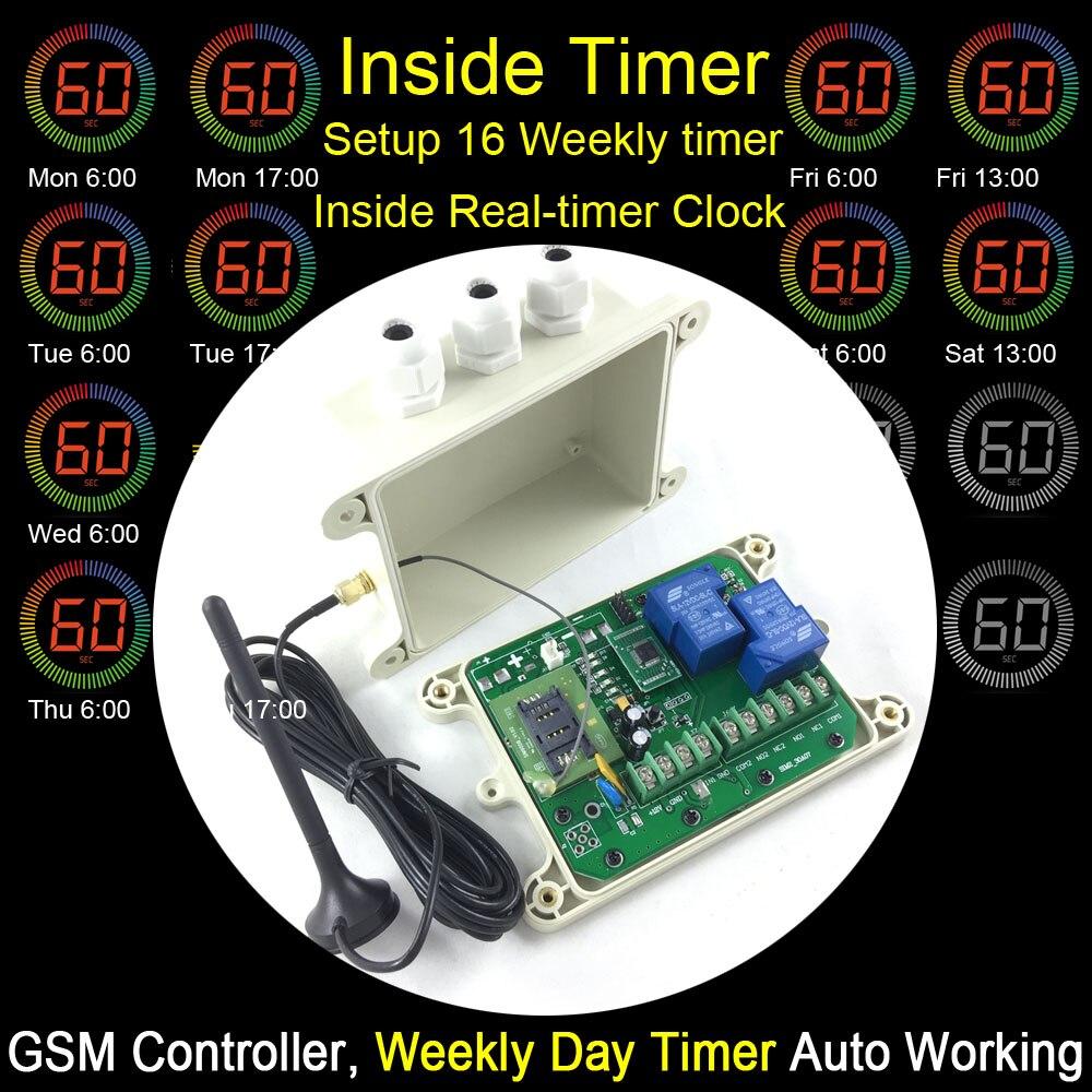Livraison gratuite GSM à distance relais switch control box (Preset 16 minuterie pour jour HEBDOMADAIRE de travail) une entrée d'alarme et batterie à bord