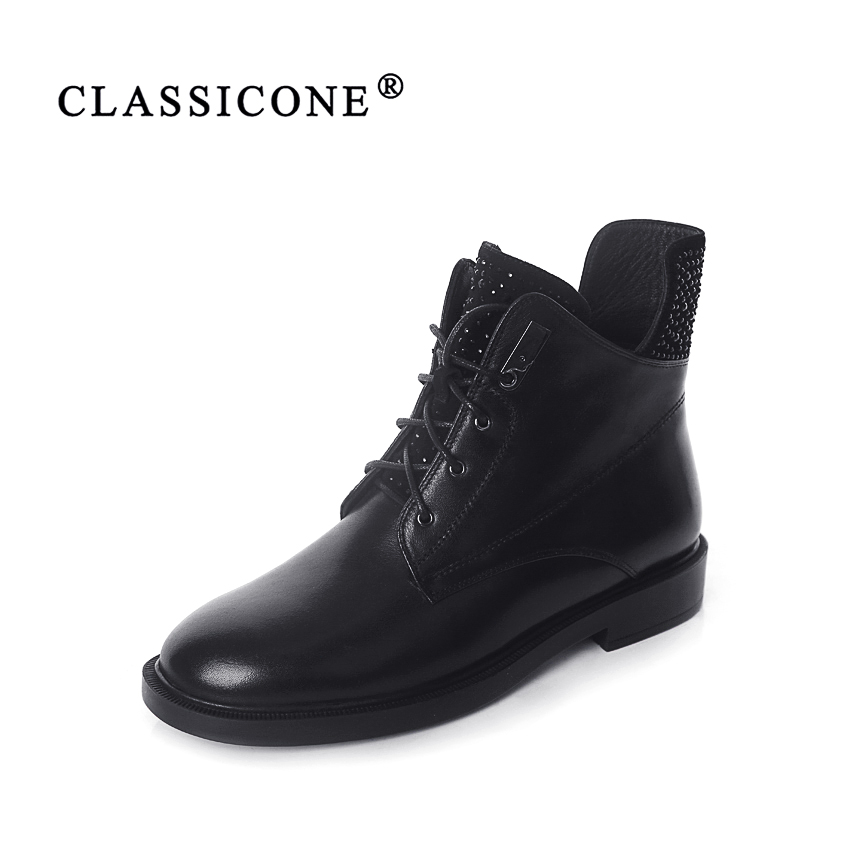 CLASSICONE 2018 shoes woman winter ankle wool snow boots flats genuine leather suede inside warm brand fashion style luxury sexy