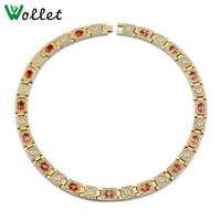 Wollet Jewelry Titanium Magnetic Statement Necklace for Men Women Gold Color CZ Stone 5 in 1 Germanium Magnet Tourmaline