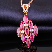 Robira Certificated Marquise Natural Ruby Squre Pendant 18K Gold Diamond Necklace