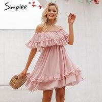 Просто, элегантно рюшами с плеча женское платье Спагетти ремень шифон повседневные летние платья праздник женский розовый короткий сарафа...