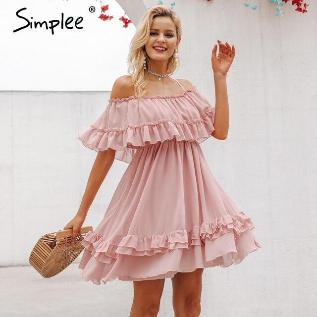 Simplee Elegante plissado fora do ombro mulheres vestido de alça de Espaguete chiffon verão vestidos de férias Casual feminino curto rosa vestido de verão