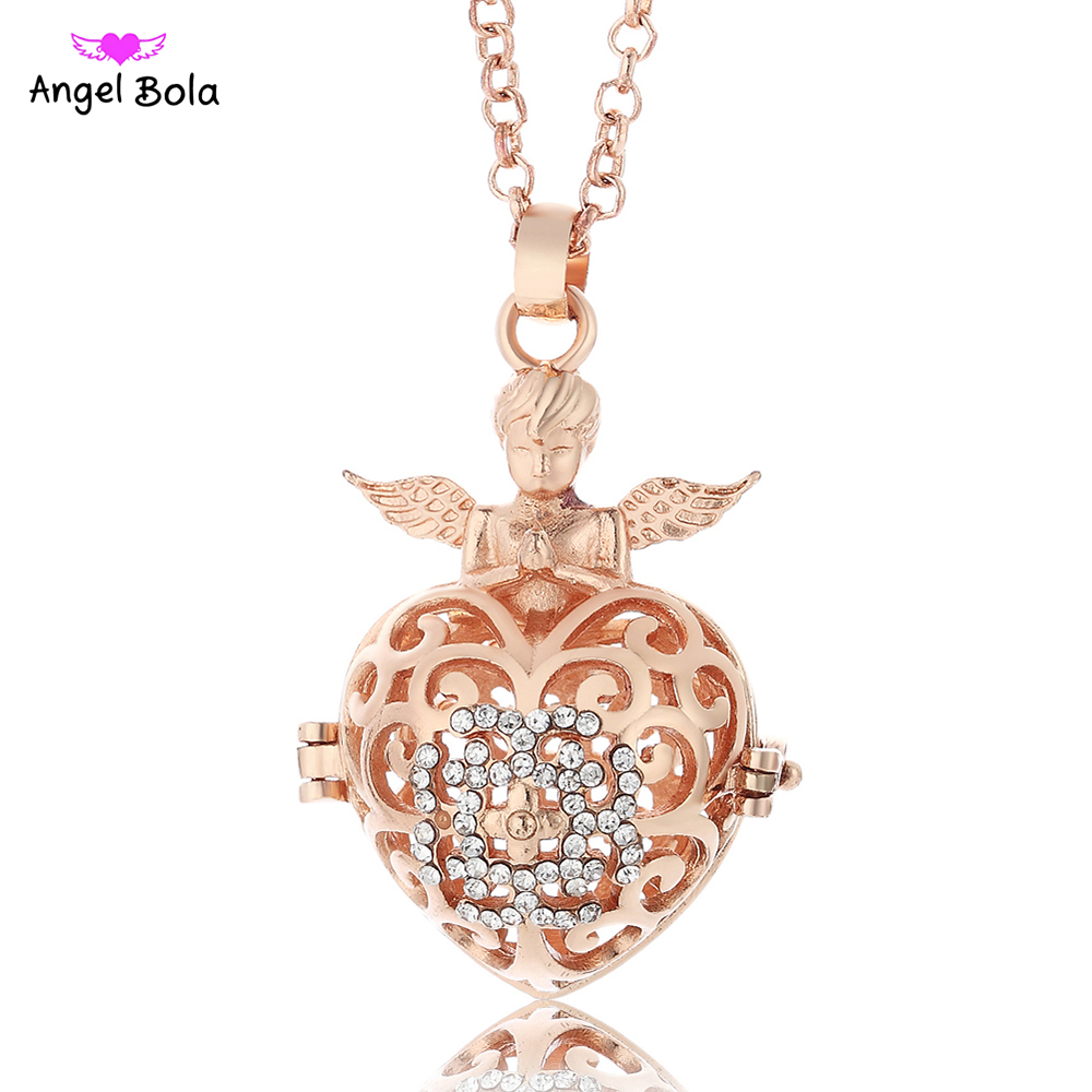 Angel Bola 10pcs/Wholesale Lucky Angel Wings Hearts Pendant Engelsrufer Necklace Angel Maternaty Ball Jewelry L075 angel city