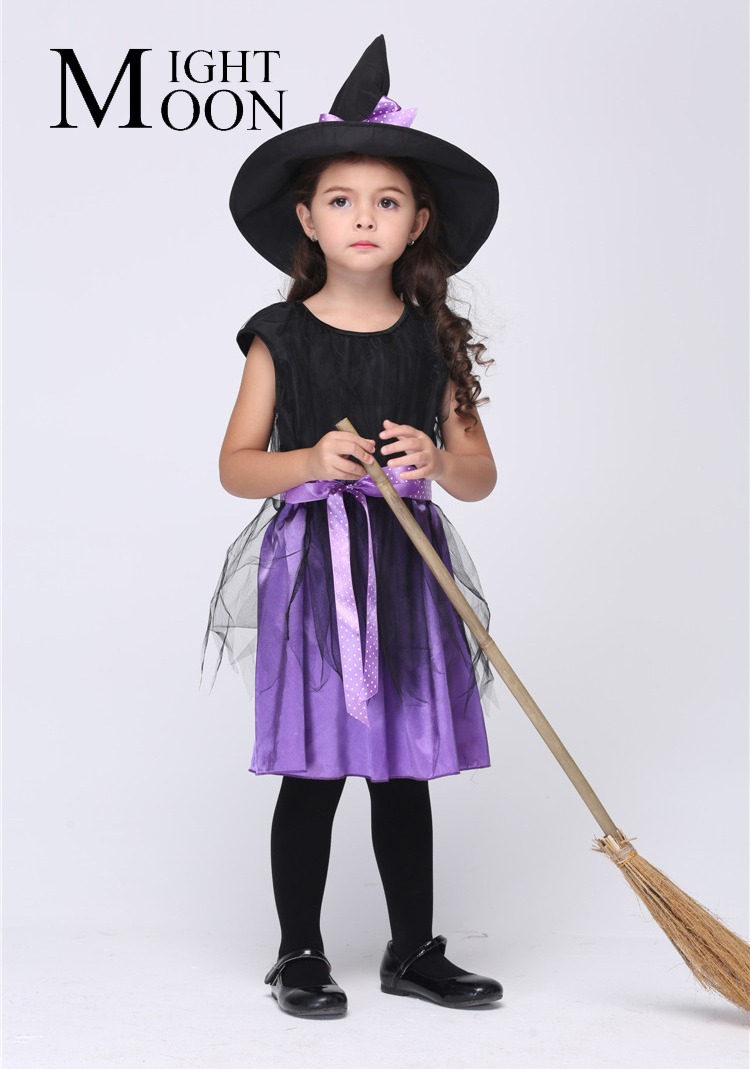 MOONIGHT Children'S Halloween Witch Costumes Cosplay Role Witch For Kids Europe And The United States Witch Cosplay Party