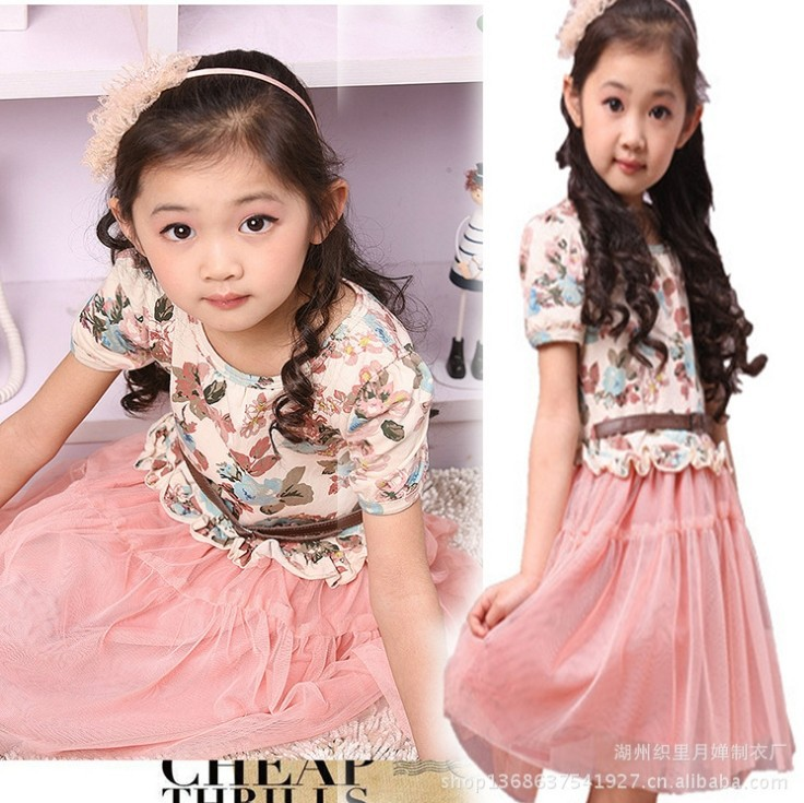 Fashion Kids girls spring summer new Korean children dress tutu princess veil clothing - Online Store 923589 store
