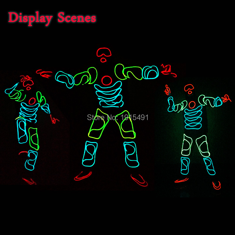 EL Suit Funky Popular EL Wire Glowing Monkey King Clothing Neon Led Strip Cosplay Glamorous Costume for Christmas Celebration 3m neon el wire glowing string light
