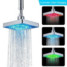 6 Inch  3 Colors Changing Water Temperature Sensor LED Shower Head Square Top Sprayer Bathroom  Power Shower Head Ducha hydropower square led color changing shower head for bathroom