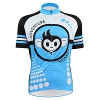 Alien SportsWear urocza małpka wzór mężczyźni lato krótki rękaw rower odzież niebieski zamek na całej długości jazda na rowerze odzież rozmiar XS 5XL w Koszulki rowerowe od Sport i rozrywka na