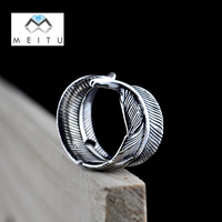 2019 Real S925 Sterling Silver Adjustable Vintage Unique Cool Fashion Feather Women Rings Anniversary gift Classic Jewelry R 62